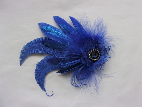 Royal Blue Feather Clip