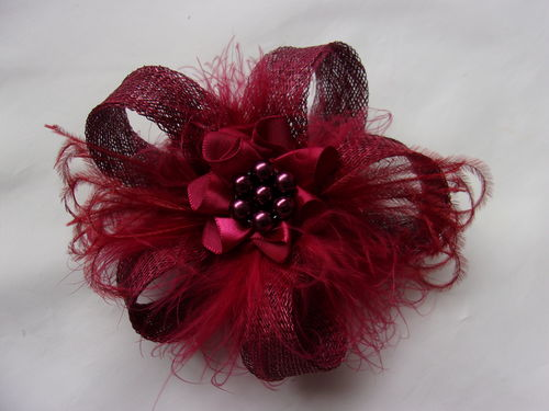Burgundy Wine Sinamay Loop Fascinator Hair Clip