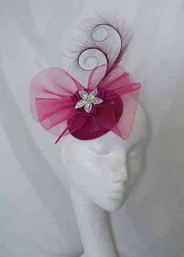 Magenta Matilda Curl Feather and Crinoline Detail Fascinator