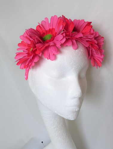 Bright Pink Daisy Flower Crown