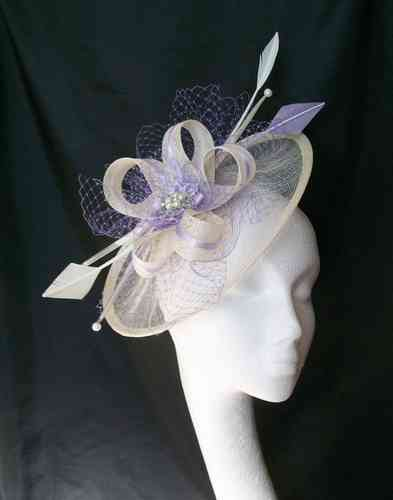 Ivory & Lilac Jessica Saucer Style Feather and Sinamay Loop Fascinator Hat