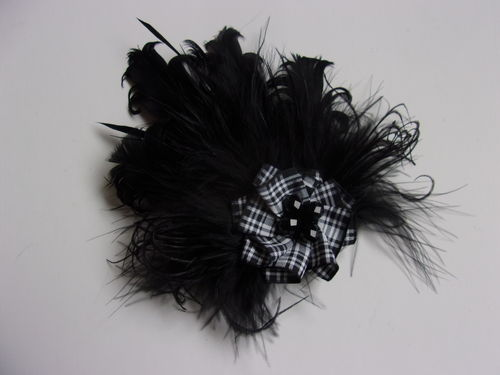 Black Menzies Tartan Feather Brooch