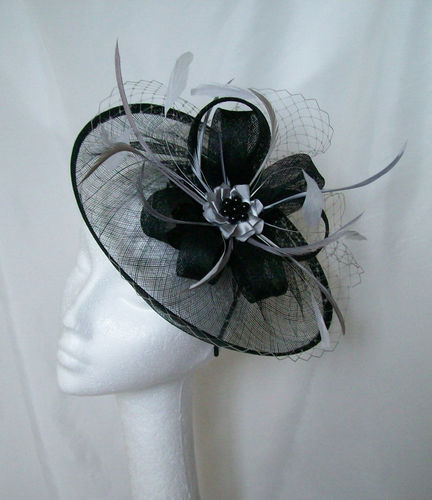 Black and Pewter Grey Aurora Saucer Veil and Feathered Fascinator Hat