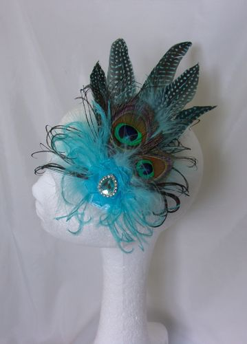 Pale Turquoise Aqua Blue Peacock Feather & Crystal Fascinator