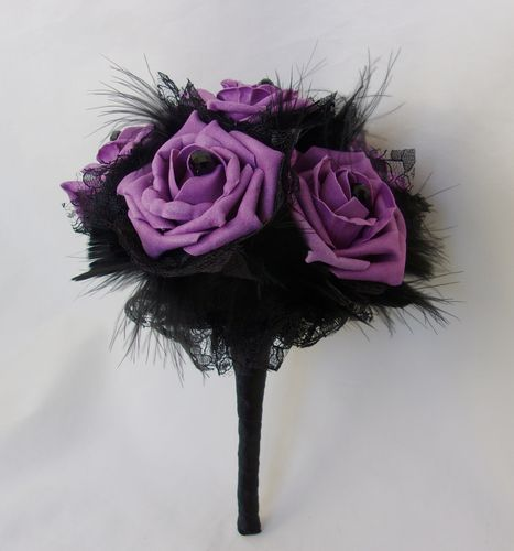 Black and Amethyst Purple Rose Posy