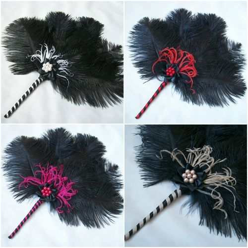 Black Colour Splash Ostrich Feather Fan