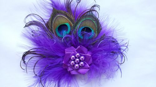 Purple Little Gem Peacock Feather Hair Clip