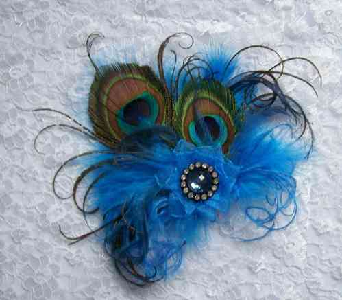 Sapphire Blue Little Gem Peacock Feather Hair Clip