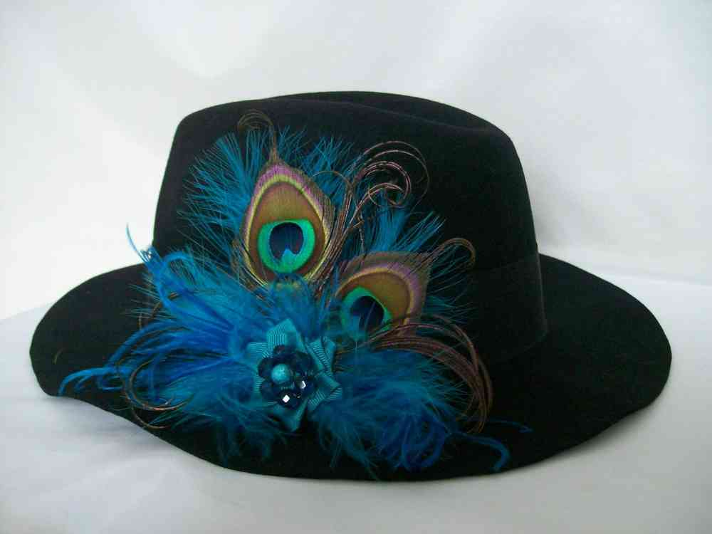 ff149cf252b38e Vintage Rustic Country Style Peacock Feather Hat Clip -Trilby Fedora ...