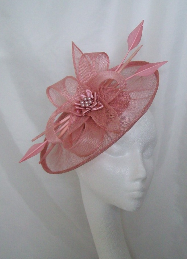 Dusky Pink Sinamay Saucer Amp Loop Arrow Feather And Pearl