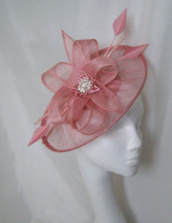 Dusky Pink Sinamay Saucer Amp Loop Arrow Feather And Pearl Lavinia Fascinator Hat Pink