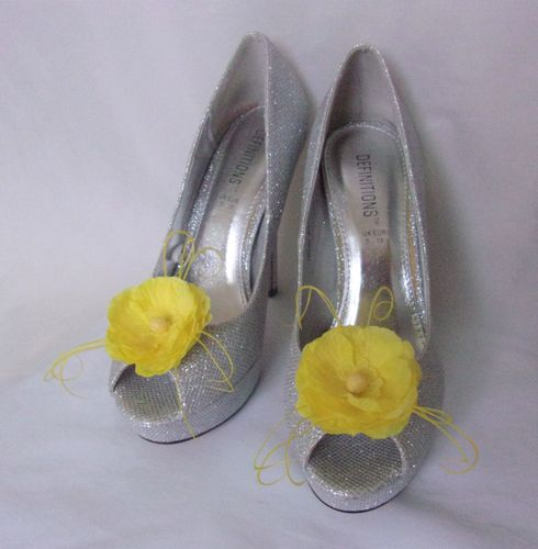 Yellow Penny Blossom Shoe Clips