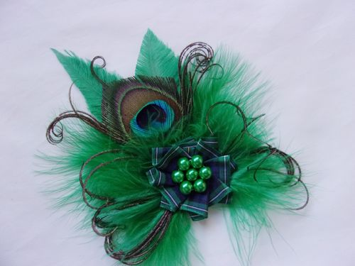 Emerald Green McKenzie Tartan Peacock Feather Brooch