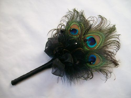 Black Peacock Feather Mini Wand Bouquet