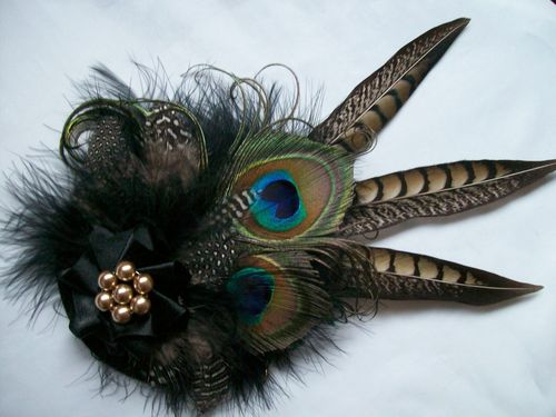 Black and Mink Rustic Minerva Pheasant and Peacock Feather Hair Clip Fascinator