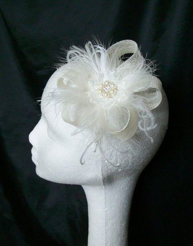 Ivory Sinamay Loop Feather & Crystal Bridal Mini Fascinator Hair Clip