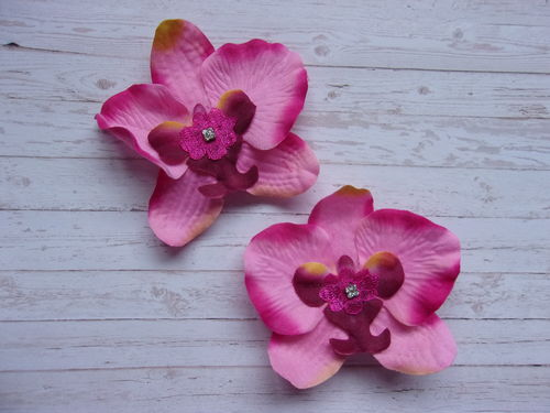 Bright Pink Orchid Hair Clips - Set of 2