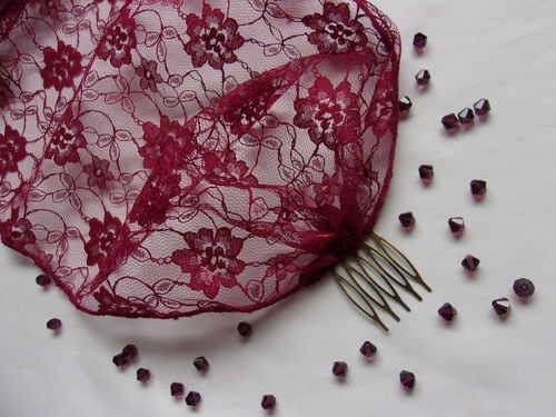 Burgundy Wine Lace Veil