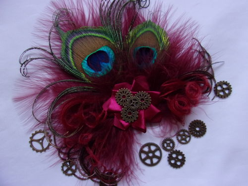 Dark Burgundy Wine Steampunk Little Gem Peacock Feather Hair Clip