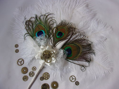 Ivory Ostrich and Peacock Feather Bridal Hand Fan with Steampunk Watch Cogs