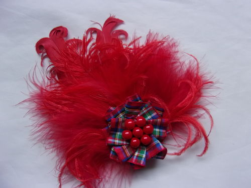 Red Royal Stewart Tartan Feather Brooch