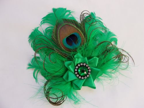 Bright Emerald Green Feather Brooch