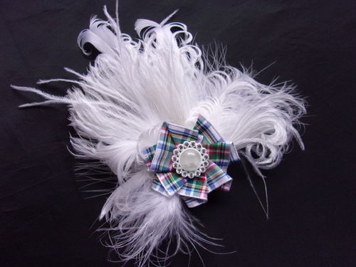 White Dress Tartan Feather Brooch