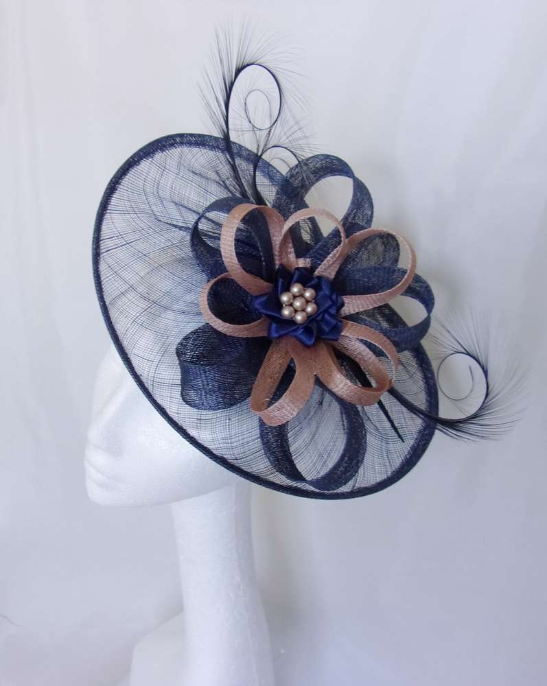 Navy Sinamay Saucer Curl Feather and Latte Nude Fascinator Hat 56f2f3be755