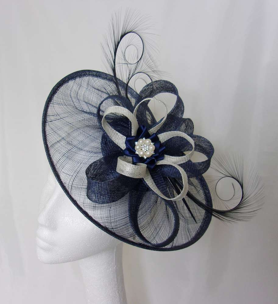 a1cb8d21da2b1 Navy Sinamay Saucer Curl Feather and Ivory Cream Fascinator Hat