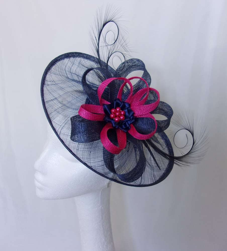 535e5765669 Navy Sinamay Saucer Curl Feather and Cerise Pink Fascinator Hat