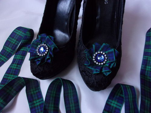 Black Watch Tartan Ruffle Shoe Clips