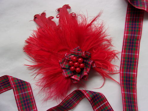 Red Frazer Tartan Feather Brooch
