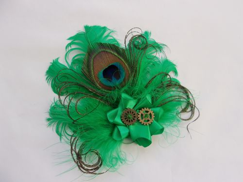 Bright Emerald Green Steampunk Feather Brooch