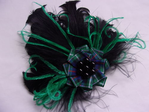 Black and Emerald Mackenzie Tartan Brooch