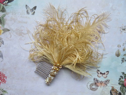 Gold Octavia Vintage Beaded Comb