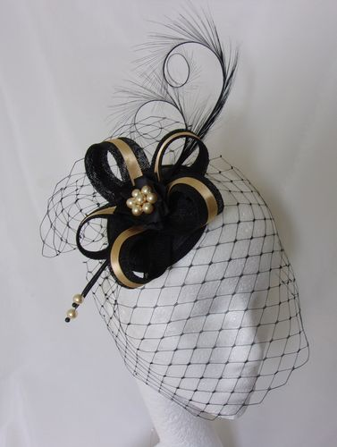 Antique Gold and Black Veiled Isabel