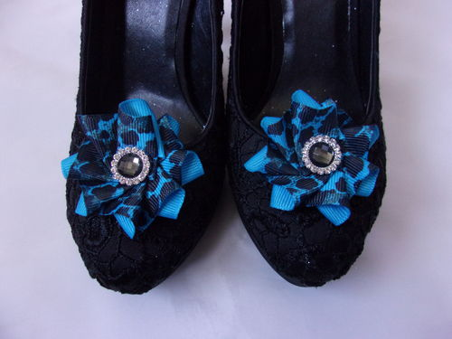 Turquoise and Black Leopardprint Crystal Shoe Clips