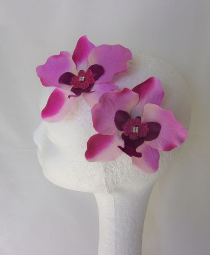 Lavender Pink & Magenta Orchid Hair Clips - Set of 2
