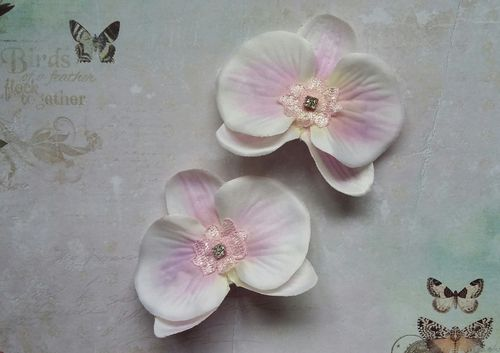 Pale Pink & Ivory Orchid Hair Clips - Set of 2