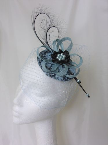 Pale Blue Lace and Black Veiled Isadora