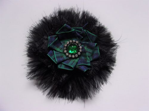 Black Feather Black Watch Tartan Brooch - Made to Order