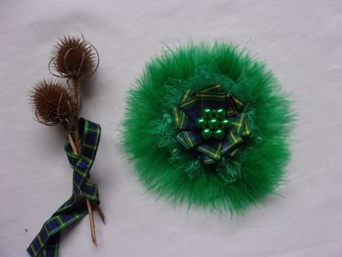 Emerald Green Gordon Tartan Brooch - Custom Order