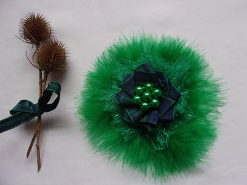 Emerald Green Black Watch Tartan Brooch