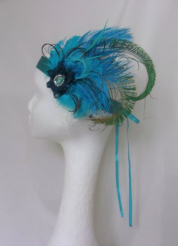 Turquoise Peacock Flapper Band