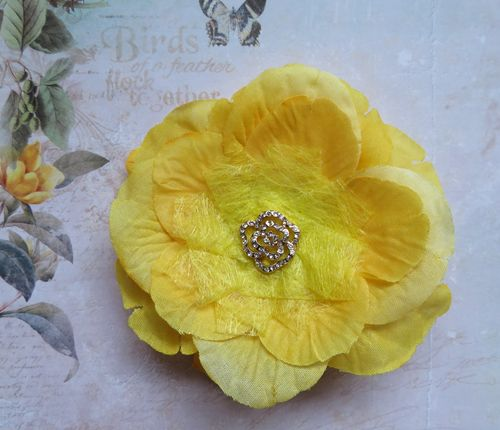 Canary Yellow Rose Brooch