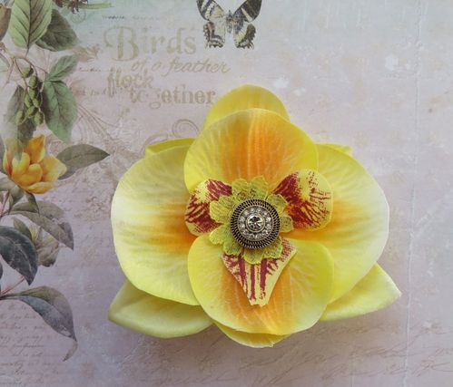 Yellow Orchid Brooch