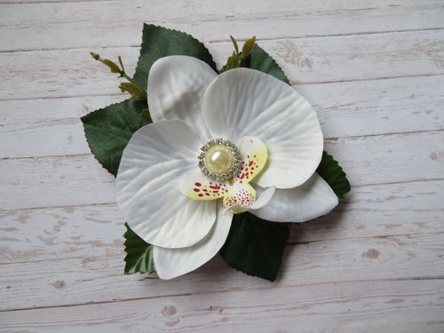 Ivory Orchid and Pearl Brooch